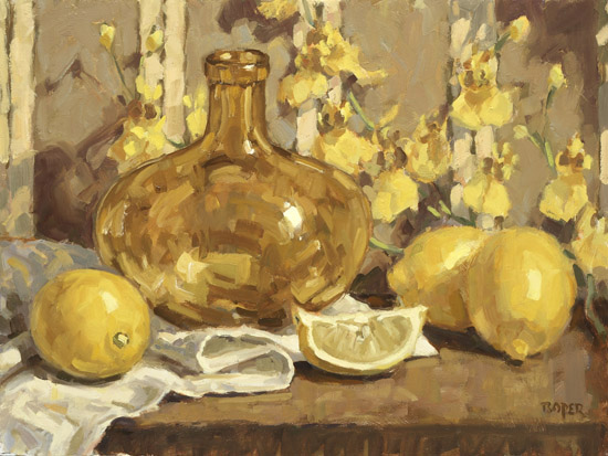 Lemons With Amber Bottle